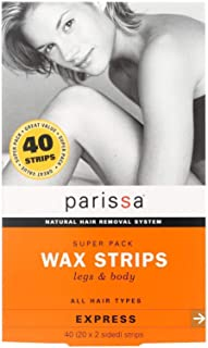Parissa Wax Strips Super Pack, Hair Removal Waxing Kit for Women Men with Wax Strips for the Legs and Body, 40 Strips Large & Aftercare oil