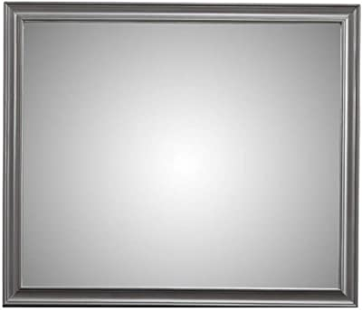 Benjara Transitional Style Rectangular Molded Mirror with Wooden Frame, Gray