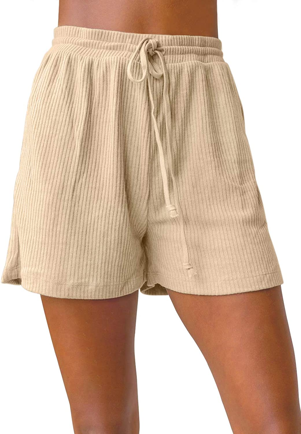 ZESICA Women's Summer Ribbed Knit Elastic Drawstring Waist Casual Beach Shorts with Pockets