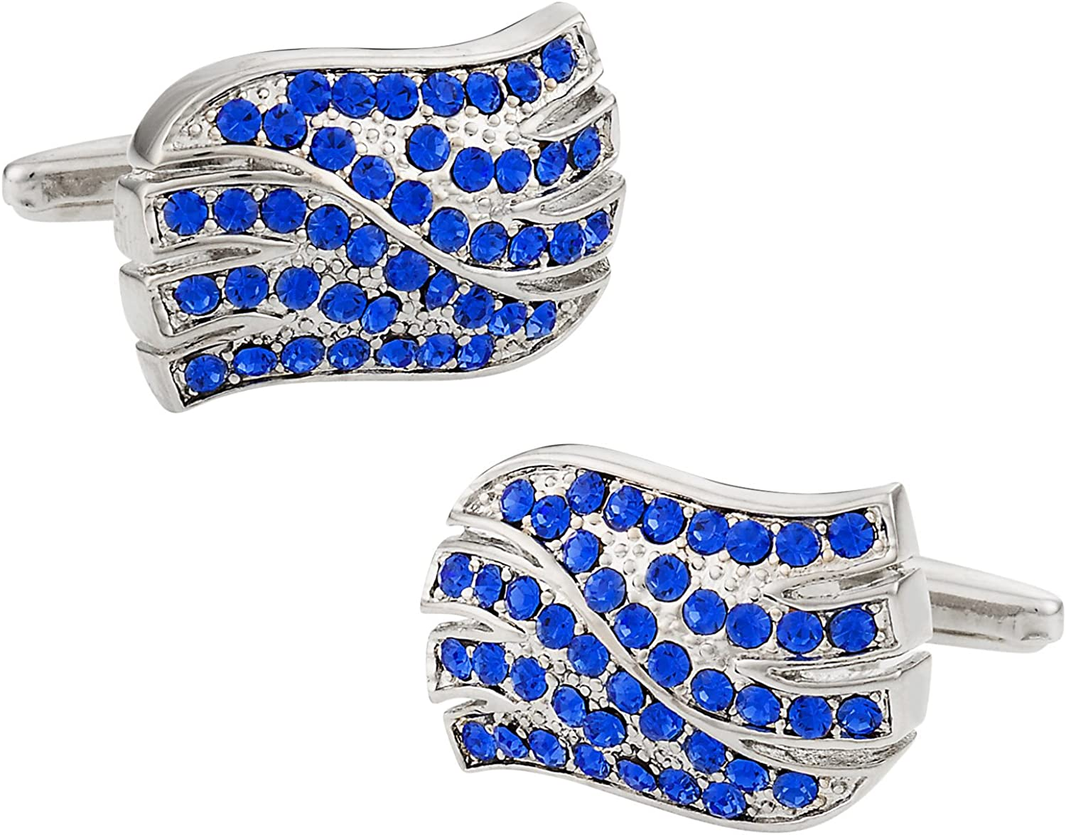 Spring Max 40% OFF new work one after another Cuff-Daddy Sapphire Blue Crystal Cufflinks Wave with Presentatio