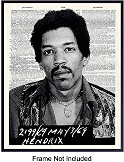 Jimi Hendrix Mugshot Art Print, Vintage Wall Art Poster - Unique Home Decor and Inexpensive Gift for Mr Jimmy, 60s Music Fans - 8x10 Photo Unframed