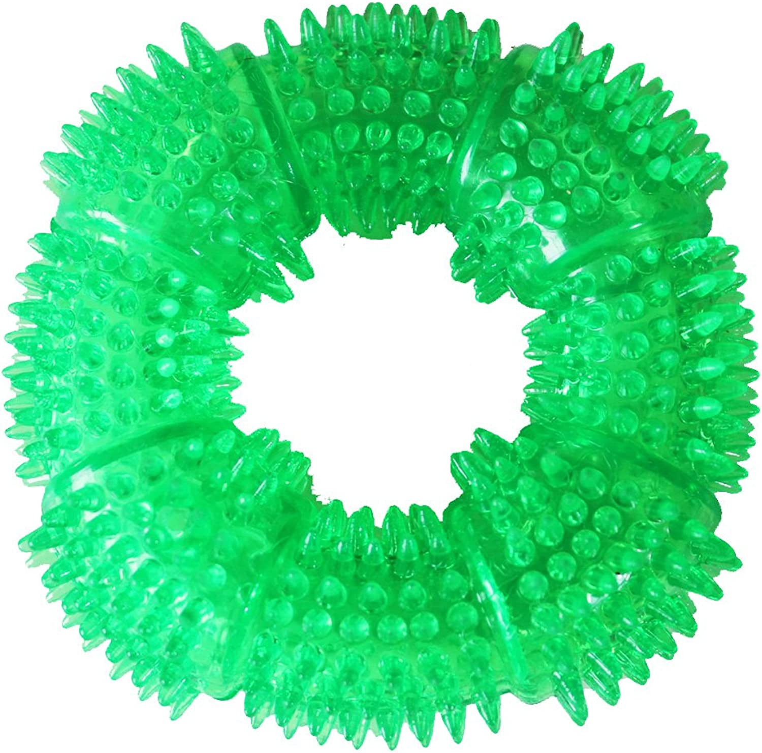 Aduck Durable Dog Squeaky Chew Toys for Aggressive Chewers Dental Teeth Mouth Cleaning Training and Playing [NonToxic Soft Rubber], Cute Crystal TPR Ring Design 5.12 inches (Crystal Green)