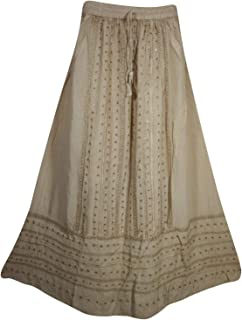 Mogul Interior Womens Beige Maxi Skirt Embroidered Stonewashed Bohemian Gypsychic Long Skirt M/L