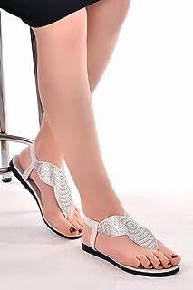 Ayakland Primo 12 Günlük Parmak Arası Bayan Cilt Sandalet Gümüş