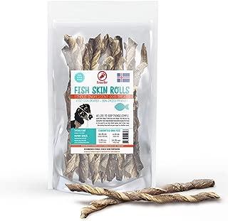 TickledPet Icelandic Cod Fish Skin Dog Chews - Long Lasting Wild Caught Single Ingredient Human Grade Grain Free Dental Treats