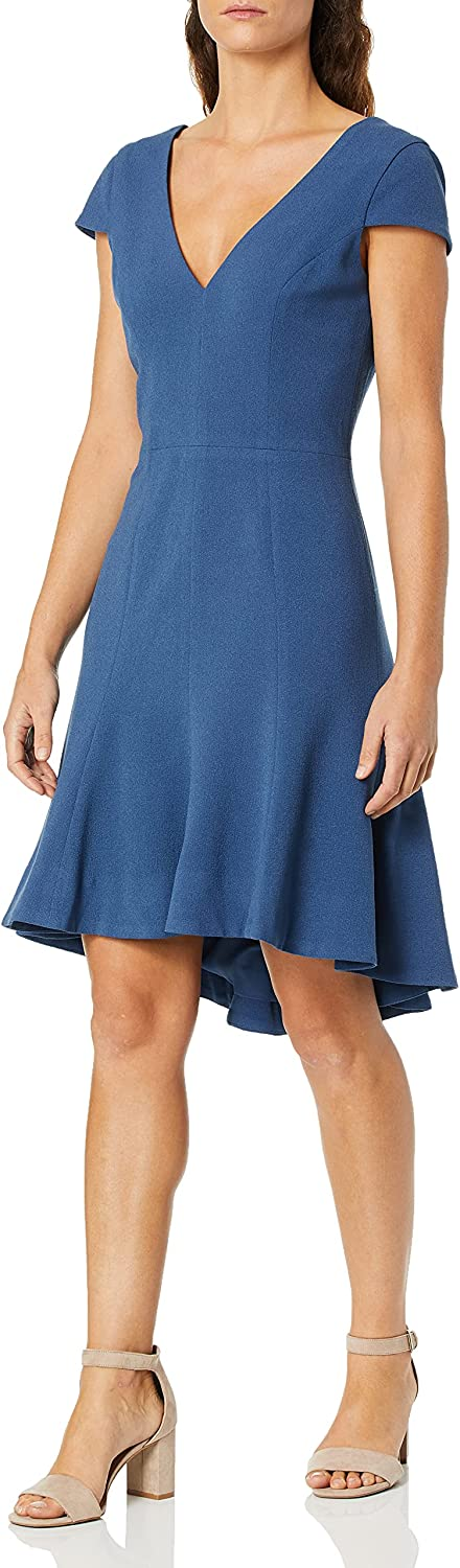 Dress the Population Women's Size Bettie Sleeve Plunging Fit & Flare Short Dress Plus