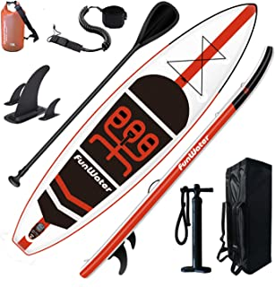 FunWater SUP Inflatable Stand Up Paddle Board 11'x33''x6'' Ultra-Light (18.5lbs) Paddleboard with ISUP Accessories,Fins,Ad...