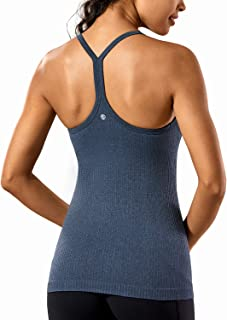 Seamless Workout Tank Tops for Women Racerback Athletic Camisole Sports Shirts with Built in Bra