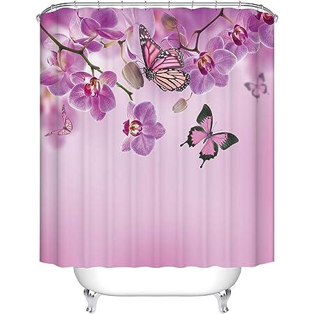 GoJeek Purple Butterfly Shower Curtain, Spring Orchid Flowers with Purple Flutter Butterflies Bathroom Decor
