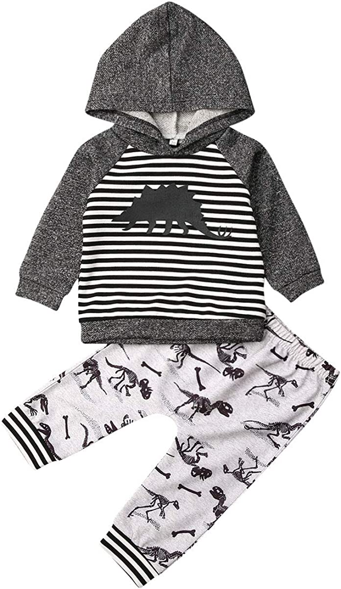 Baby Boy Girl Fashion Outfit Letter Camo Hooded Sweatshirt Top + Striped Dinosaur Pant Casual 2Pcs Fall Winter Clothes