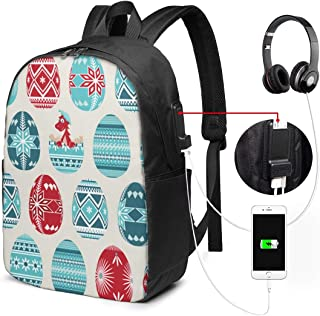 Eggs Pysanky Chick College Laptop Backpack Bag USB Charging Port Travel Daypack