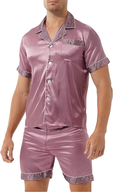 Sholeno Men Summer Pajamas Sets Silk Satin Sleepwear Home Clothes Nightwear Sleep Two piece set