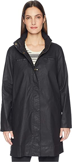 Waxed Organic Cotton Stretch Twill Hidden Hood A-Line Jacket