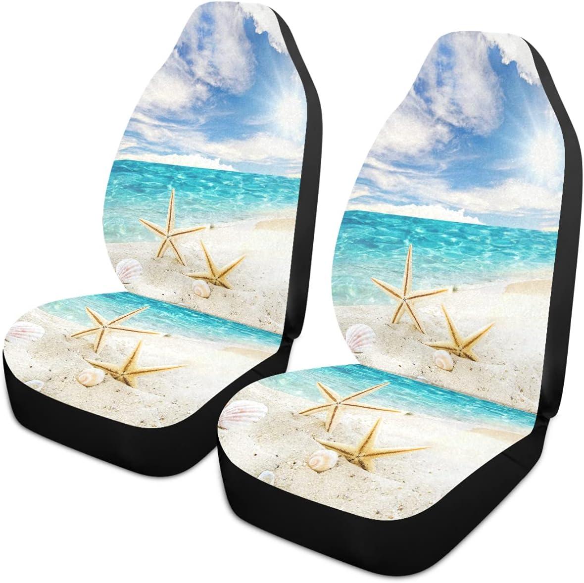 Oarencol Starfish Seashell Beach Max 53% OFF Long-awaited Sandy Car Blue Covers Sky Seat