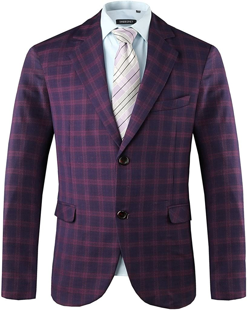 Hanayome Mens Exclusive Pueple Plaid Casual Two Button Sport Coat Blazer SI13