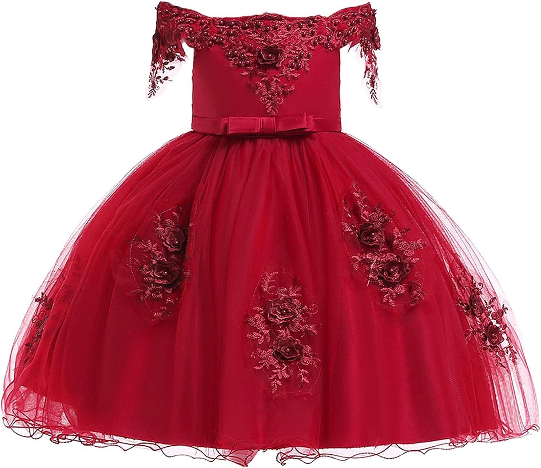 renvena Kids Girls Embroidery Flower Dress Off Shoulder Princess Bridesmaid Wedding Formal Pageant Dance Gown