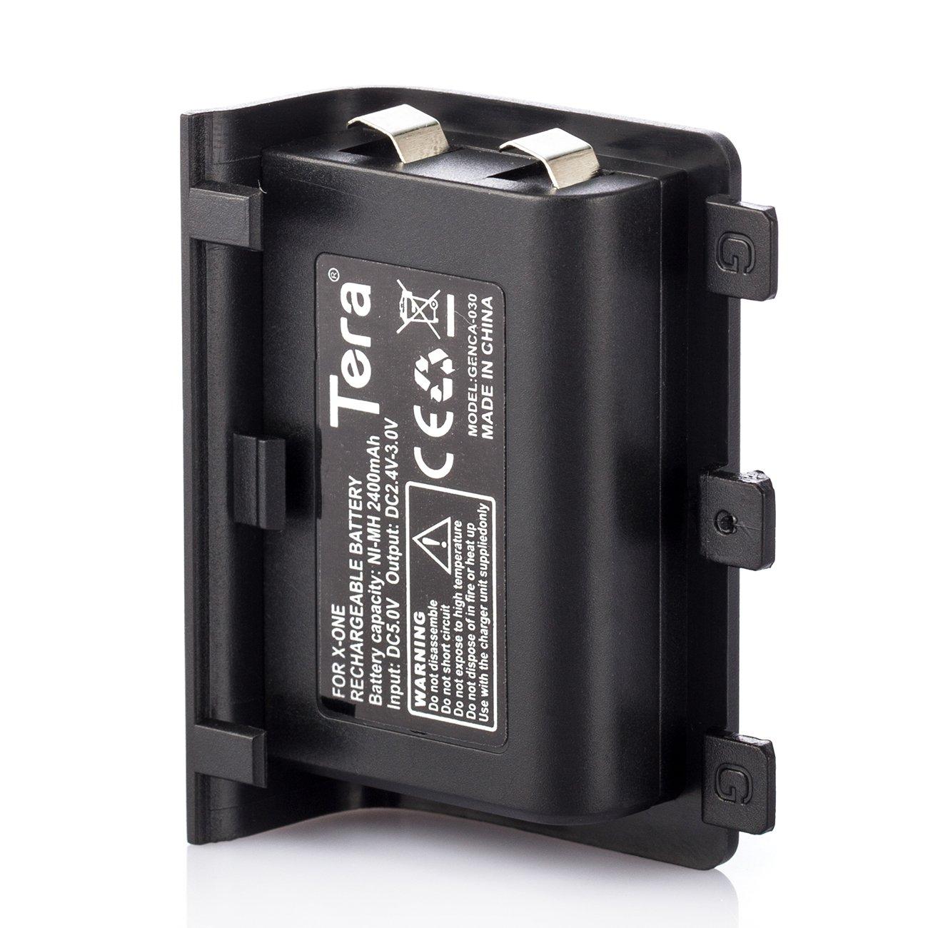 Tera 2pcs 2400 mAh batería Recargable de Repuesto para Xbox One Controlador con Cable de Carga Negro con Tera Gamuza de Polvo: Amazon.es: Informática