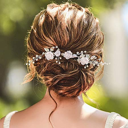 Pink blue  flower comb Floral comb Spring summer wedding Hair accessory Flower headpiece Flower girl accessory Bridal comb Bridesmaid comb
