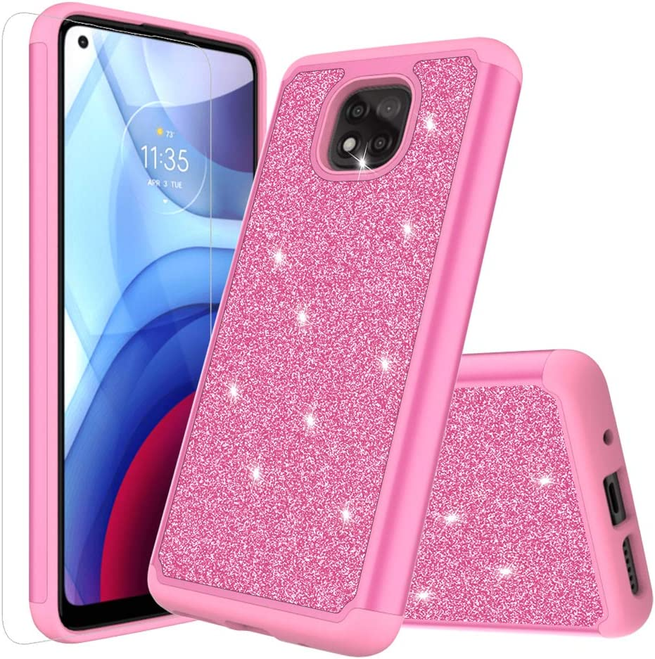 for Moto G Power 2021 Glitter Case (NOT FIT G Power 2020) with HD Screen Protector Shockproof Absorption Flexible Soft TPU Thin Protective Rubber Case Anti Dropping Phone Case Cover (Pink)