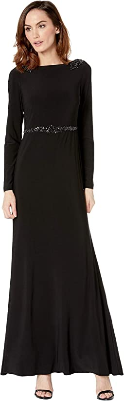 Long Jersey Dress w/ Long Sleeves and A-Draped Back Cowl