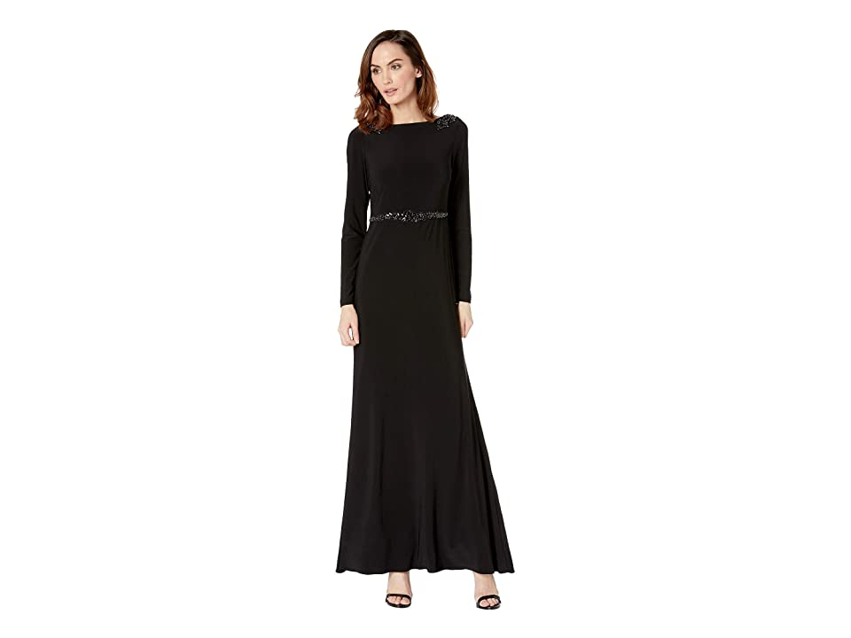 Adrianna Papell Long Jersey Dress w/ Long Sleeves and A-Draped Back Cowl (Black) Women