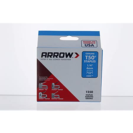 "Arrow T50 Staples Manual 1/4 "" T50 Staples (Pack of 6)"