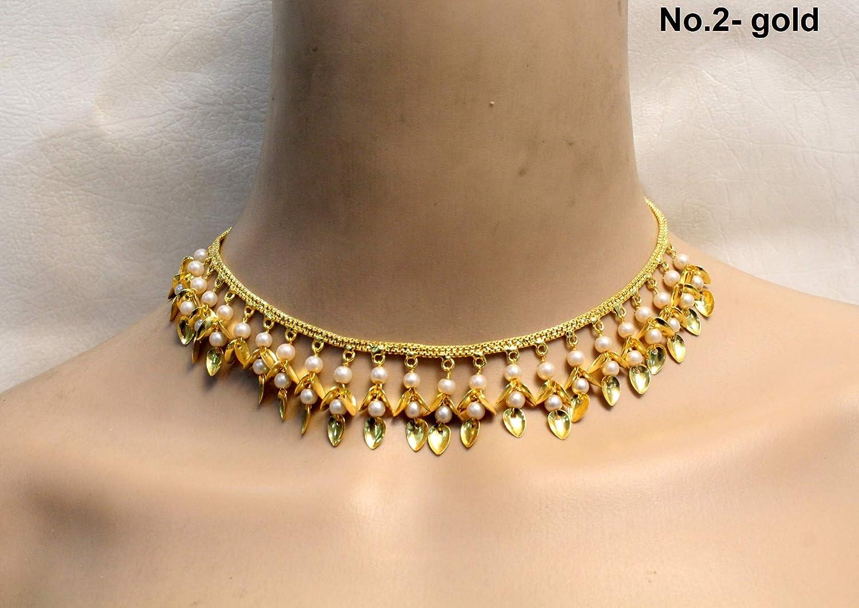 Jadau Pippal patti Necklace Set Pearl Pakistani Indian Jewelry Punjabi Muslim Gold Jewellery Set