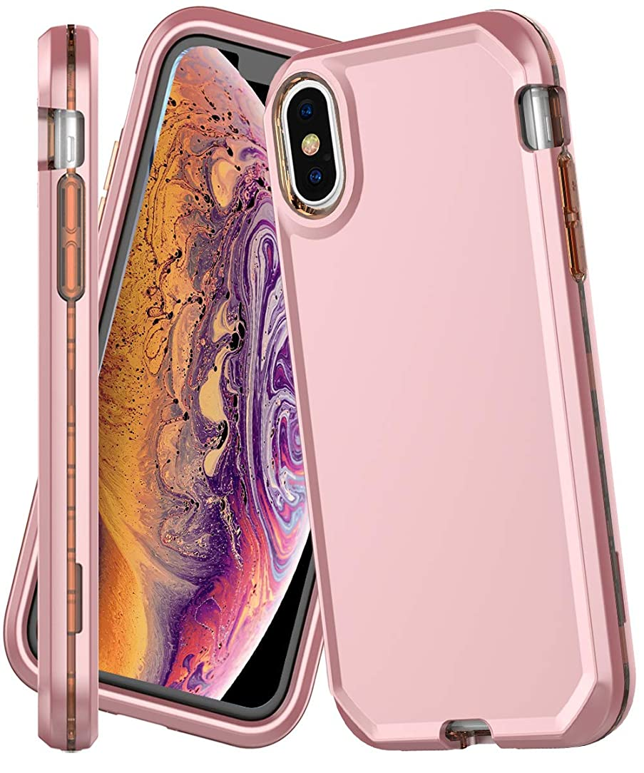 iPhone Xs MAX Case,IN4U Shockproof 3in1 Fullbody Hard Shell Design 360 Protective Cover for iPhone Xs MAX [6.5 INCH] Case (Rose Gold)