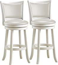 CorLiving DWG-119-B Woodgrove White Wash Wood Swivel Bar Height Barstool with Leatherette Seat, 29'' Seat Height, Set of 2