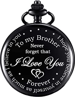 Pocket Watch Personalized Engraved for Brother, Retro Vintage Quartz Roman Numerals Pocket Watch with Chain for Men, Brother Gift Pocket Watch for Birthday Christmas Graduation (Black)