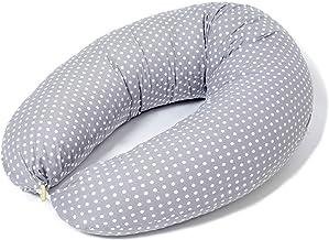 Niimo Cojin Lactancia Bebe y Almohada Embarazada Dormir Multifuncion Funda Cojin 100% Algodon Desenfundable y Lavable Relleno de Poliester Multiusos Maternidad (Gris - Lunares Blancos)