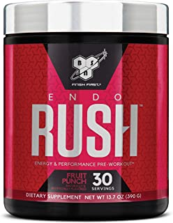 BSN Endorush Pre-Workout Powder, Energy Supplement for Men and Women, 300mg of Caffeine, with Beta-Alanine and Creatine, Fruit Punch, 30 Servings
