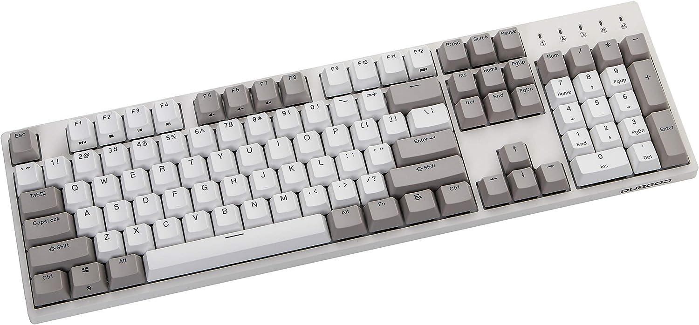 Durgod Taurus K310 Mechanical Gaming Keyboard - 104 Keys - Double Shot PBT - NKRO - USB Type C (Cherry Brown, White) (Renewed)