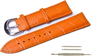 Genuine Leather Watch Bands,Alligator Grain Padded Replacement Watch Straps for Men and Women.Width (18mm, 20mm,22mm or 24mm) WB002