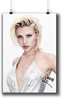 Scarlett Johansson Actress Movie Photo Poster Prints 249-005 Reprint Signed,Wall Art Decor for Dorm Bedroom Living Room (A4|8x12inch|21x29cm)