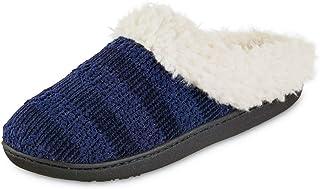 isotoner Women's Microsuede Faux Fur Indoor/Outdoor Hoodback Slipper (Navy Blue, 7.5-8, 7.5)