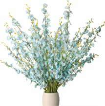 BOMAROLAN Artificial Orchid Silk Fake Flowers Faux Dancing Lady Orchids Stems Flower 10 Pcs Real Touch for Wedding Home Office Party Hotel Yard Decoration Restaurant Patio Festive Furnishing(Blue)