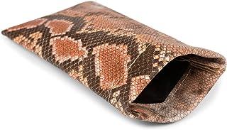 styleBREAKER Etui pour lunettes de soleil en optique serpent coloré avec chiffon de nettoyage, fermeture éclair de l'étui ...
