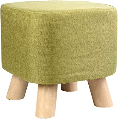 LJFYXZ Upholstered Footstool Ottoman Detachable Linen Cover Wooden Support Padded Footstool 4 Solid Beech Legs (Color : Green)