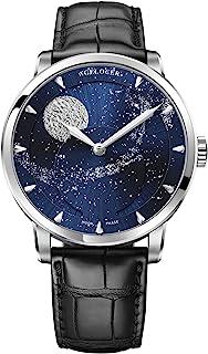 Agelocer Men's Top Brand Genuine Blue Moon Phase Mechanical Masculine Fashion Luxury Wrist Watch 6401D2 (QQ1:6404A1)