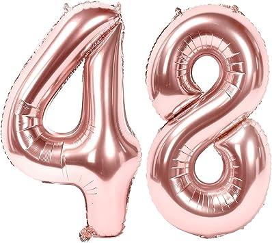 Oferta amazon: Siumir Globos de Numero Oro Rosa Número 48 Grande Globos de Cumpleaños Papel de Aluminio Globos Decoración de Fiestas de Cumpleaños Talla 48