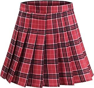 Alliico Women's A-line High Waist Plaid Pleated Mini Skirt School Girl Skirt