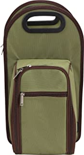 Primeware Symphony Two Person Insulated Wine Totes with Acrylic Glasses, Olive Green
