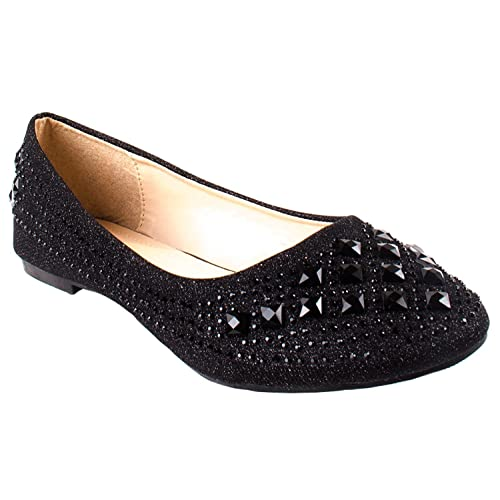 bf38068781 Forever Link Women's Sparkle Bead Crystal Embellished Metallic Dress Ballet  Flat