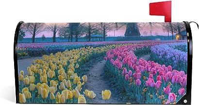 Veld Bloemen Mooie Plaatsen Tulp Velden Windmolen Magnetische Postbus Cover Tuin Home Decor Oversized 25,5 x 18 Inch
