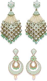 ZAVERI PEARLS Green Golden Non Precious Metal Dangler Earrings for Women (ZPFK9033)