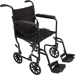 "ProBasics Aluminum Transport Wheelchair - 19"" Wheel Chair Transport Chair - Black"