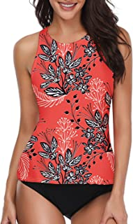 Women Two Piece Swimsuit High Neck Halter Floral Printed...