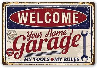 YSHDNDML Personalisiertes Metallschild für Garage, langlebiges Metallschild für den Innen  und Außenbereich, ideal als Garagendekoration und EIN tolles Geschenk für Mechaniker