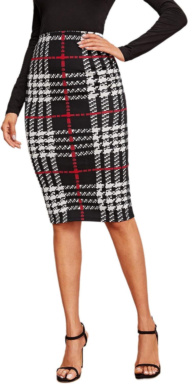 estilo l/ápiz cintura alta falda oto/ñal ajustada a la figura minifalda a cuadros con l/ínea A para oficina DIDK Elegante falda a cuadros para mujer